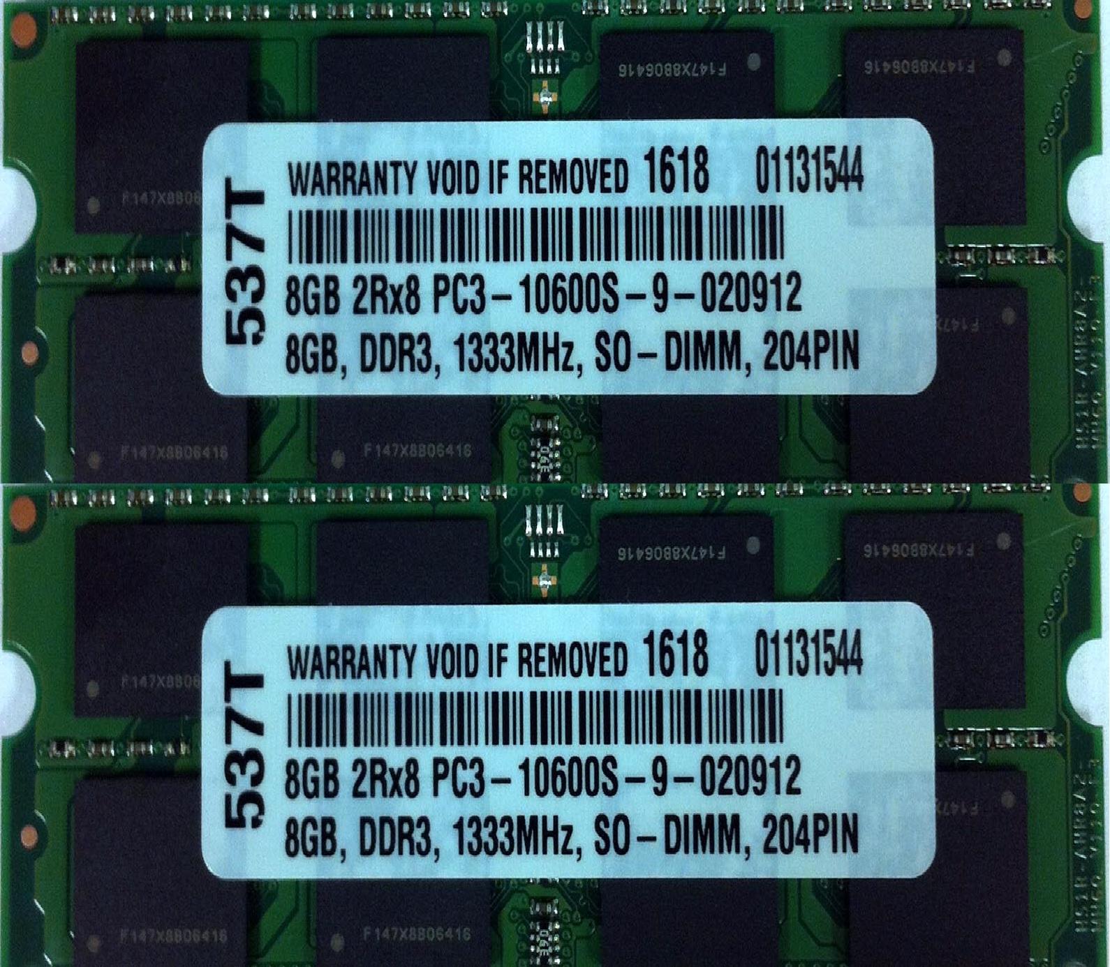 16GB (2X8GB) DDR3 PC3-10600 1333MHz CL9 4 PIN SO DIMM MEMORY RAM 4